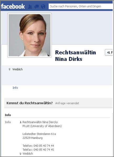 Nina Dirks - Fakeprofil Facebook