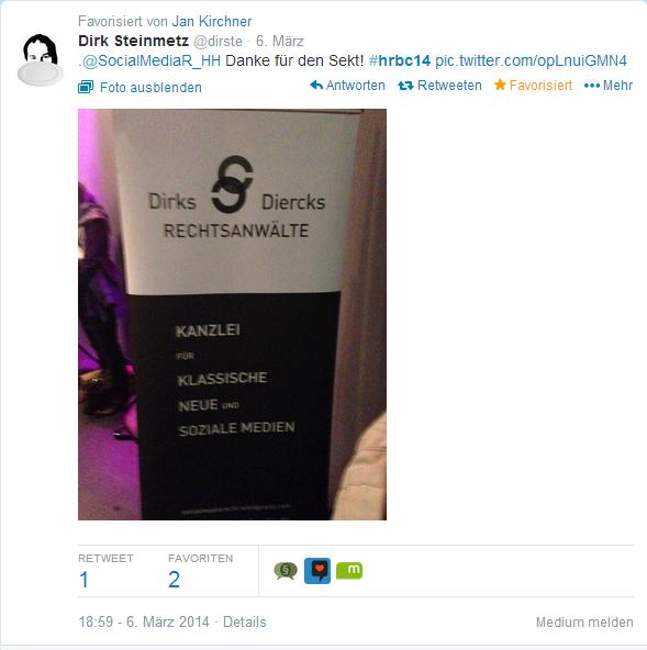 Tweet von Dirk Steinmetz, @dirste